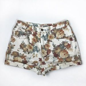 Guess vintage 90s floral denim high waisted shorts